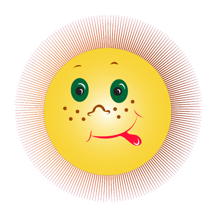 Cheesy Grin yellow laughing sun Vector