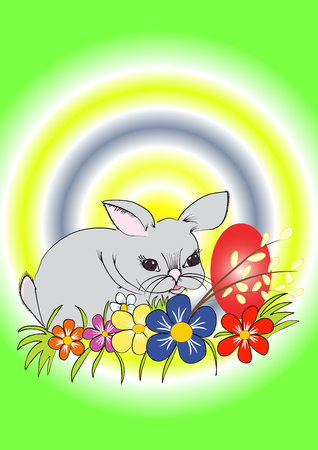 Easter little bunny in the grass with easter egg Vector