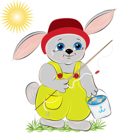 Rabbit fisherman with a bucket in which fish Vector