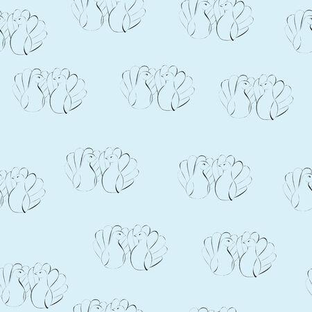 Love doves vector seampless pattern Illustration