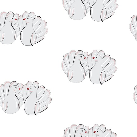 Love doves seampless pattern Vector