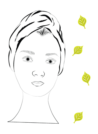 beauty face: spa scetch with women beauty face leaf