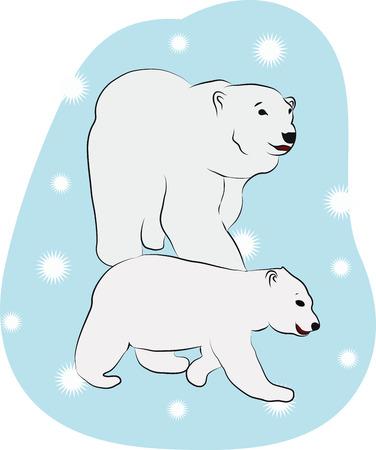 floe: large and small polar bears on an ice floe Illustration