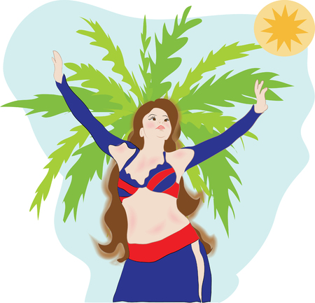 bellydance:  belly dancer women vector palm sun sky