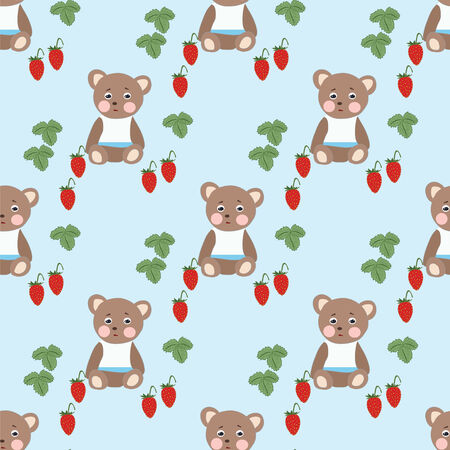 bear berry: strawberry vector pattern with green leaves seampless