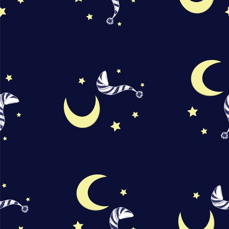 nightcap: night vector pattern with painted moon and a nightcap