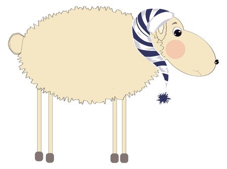 nightcap: sleeping sheep in the nightcap on an isolated background