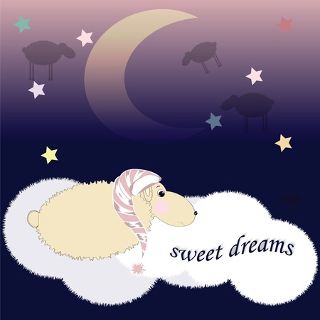 sleeping sheep in the nightcap in the clouds Vector