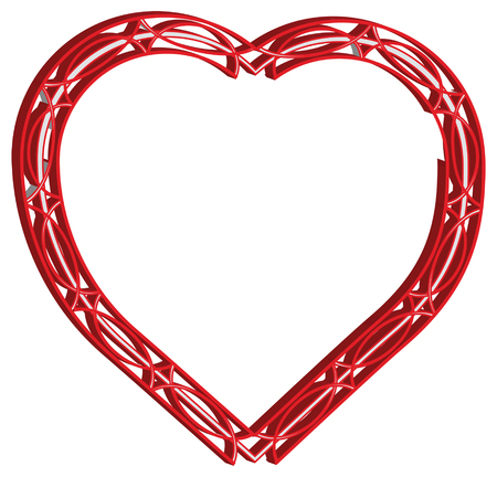 surround: vector illustration of red hearts surround lacy Illustration