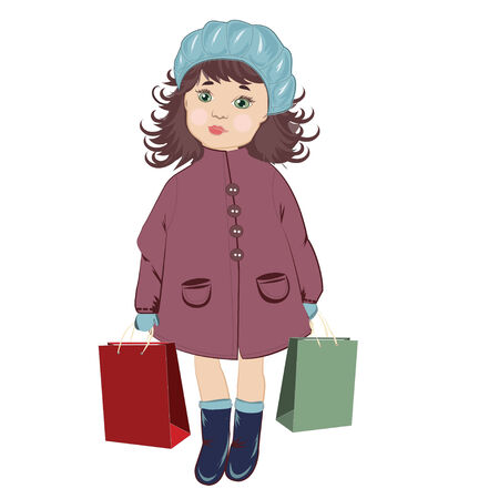 berets: Girl With Shopping Bags in blue berets