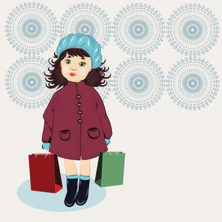 boinas: Muchacha con los bolsos de cascos azules Vectores