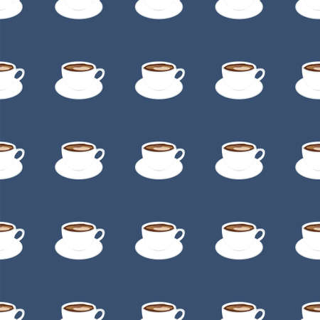 vector pattern with white cup and saucer with coffee