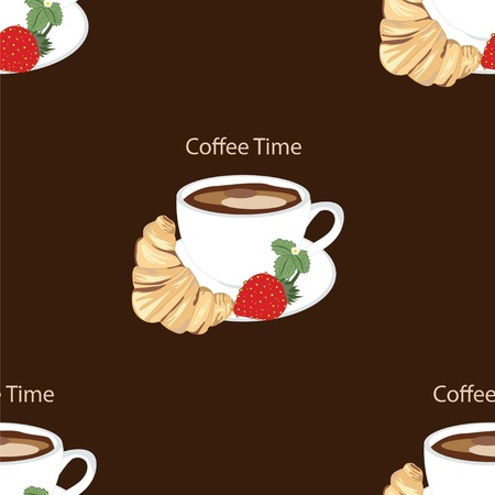 vector pattern with coffee cup strawberry croissant Vector