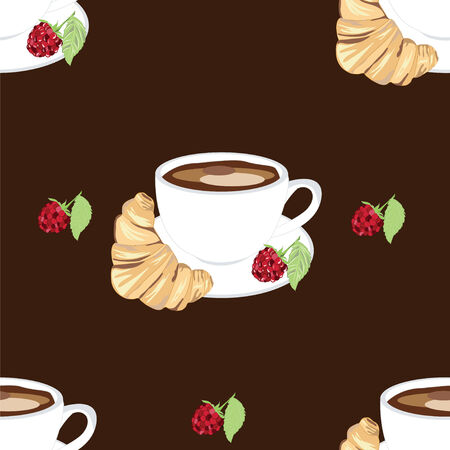 vector pattern with coffee cup raspberry croissant Vector