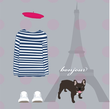 Paris Eiffel Tower card striped shirt dog Vector