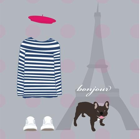 Paris Eiffel Tower card striped shirt dog Vector