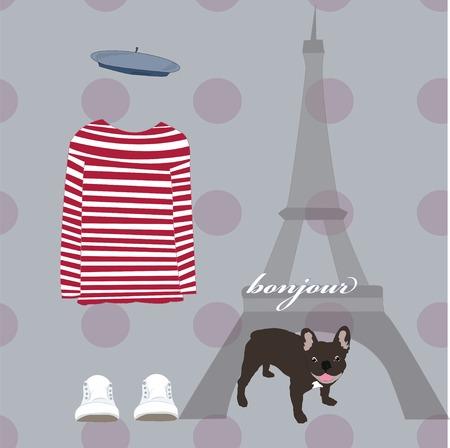 french culture: Paris Eiffel Tower card striped shirt dog