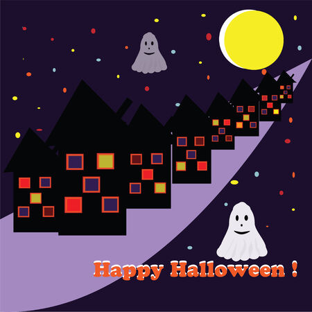 ghost house: picture For Halloween with ghost house moon