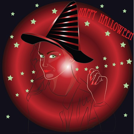 invitation from the charming halloween witch vampire Vector
