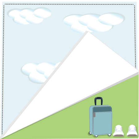 wrapped around: summer background clouds wrapped around the corner suitcase sneakers