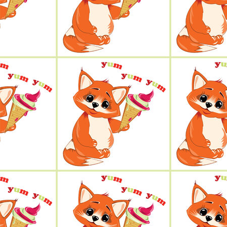 eating ice cream: vector pattern small fox  eating ice cream