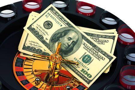 ruleta casino: ruleta juego de casino d�lares americanos dinero de fotos en tonos de enfoque suave selectiva Foto de archivo