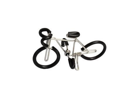 bicycle model toy from wire isolated on white background photo