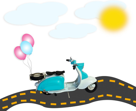 scooter motorbike with balloons on road with clouds and sun isolated on white background photo