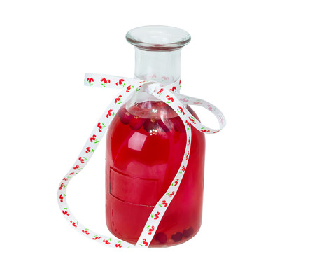 cranberry juice: bottle of cranberry juice compote on a white background detox organic product Stock Photo