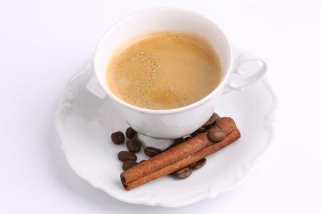 chicory coffee: white mug of coffee beans cinnamon stick isolated on white background ceramic china chicory Stock Photo