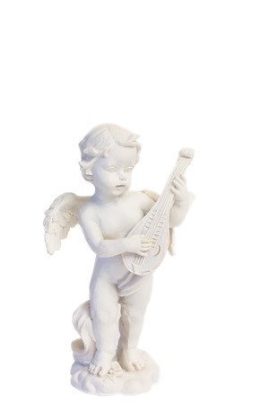 lute: angel playing a lute figure figurine isolated on a white background