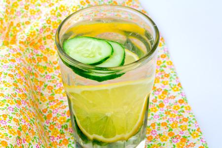 ginger health: lemon detox diet water cucumber ginger glass health eco Stock Photo