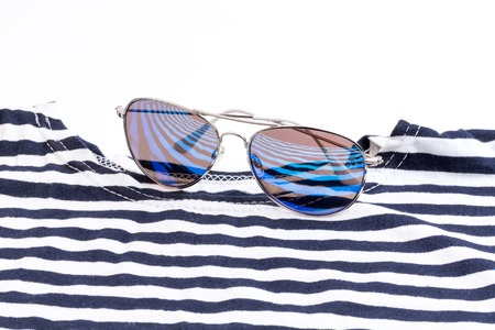 sailor striped shirt sunglasses Sea vacation selective soft focus