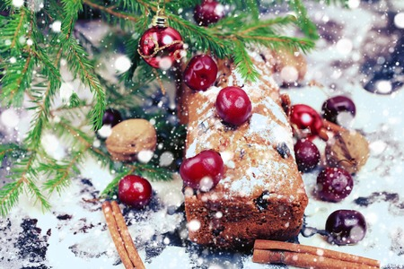weihnachtskuchen: Christmas cake with cherry selective soft focus