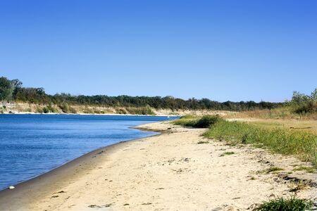 beach landscape: Don river sand shore sky beach landscape nature Russia