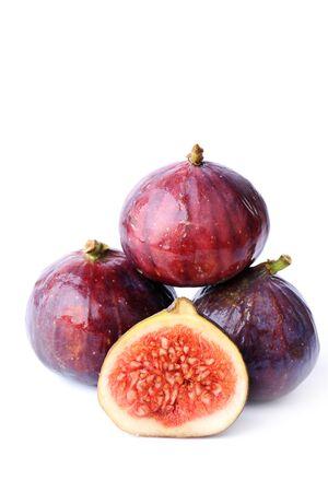sweet segments: figs isolated on white background sliced fruits Stock Photo