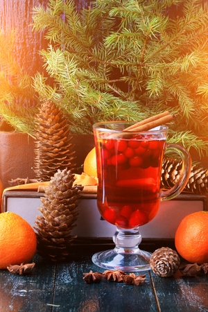 mulled wine spice: Christmas hot drink with cranberries and cinnamon fir mandarin oranges winter holiday