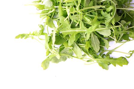 rukola: arugula salad isolated on white background healthy lifestyle, green eco life diet