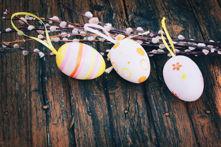 pink pussy: Spring Easter background Easter eggs willow selective soft focus rustic retro style