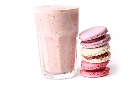 frence: berry smoothie and macaroon on a white background yogurt breakfast Stock Photo