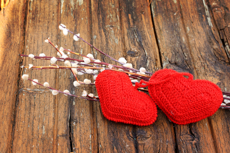 full willow: Spring love background couple knitted heart willow Easter Valentines Day selective soft focus rustic retro style