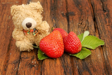 bear berry: Strawberry Teddy bear on an old wooden background