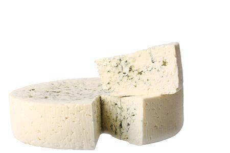 calorific: blue cheese isolated on white background Stock Photo