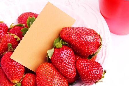 sappy: strawberries in a ceramic bowl with a gift card for an inscription