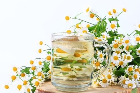 chamomile tea: chamomile tea bags  Herbal medicine Stock Photo