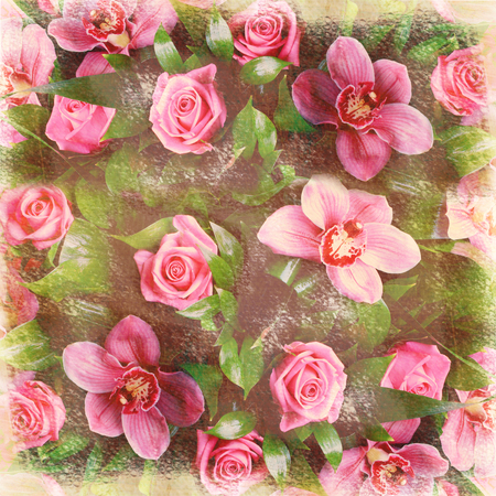 chic: Romantic floral retro background shabby chic grunge