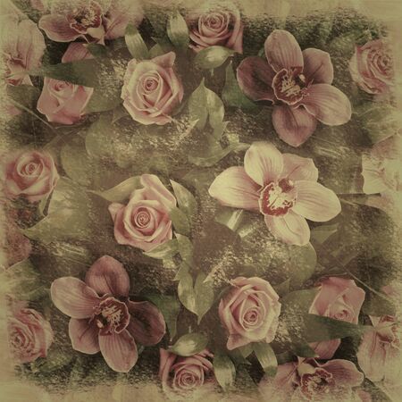 alienated: Romantic floral retro background shabby chic grunge