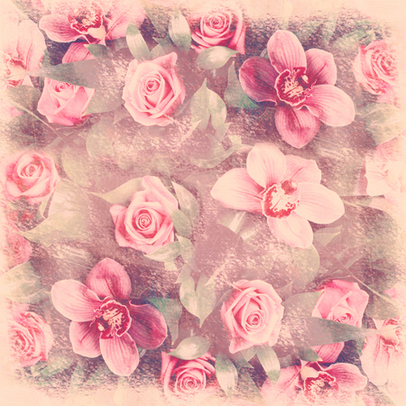 grubby: Romantic floral retro background shabby chic grunge