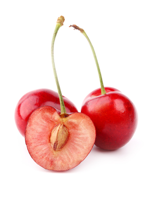 pulpy: juicy cherries isolated on white background