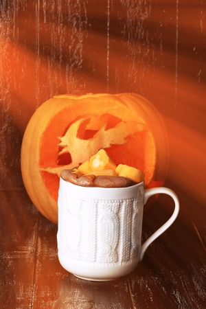 pumpkin spice latte smoothies with marshmallow hot winter drink halloween